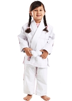 Vulkan ULTRA Light Girls Kids Gi - WHITE with PINK patches - Youth Size
