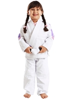 Vulkan Pro Light KIDS Jiu-Jitsu Gi - WHITE with LILAC Patches - Youth Size
