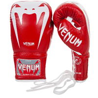 Venum Giant 3.0 Boxing Gloves - Nappa Leather - With Laces - Red