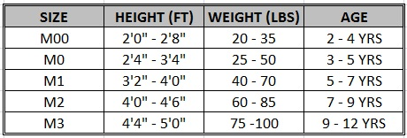 This Size Chart Is Made To Help Find The Right Of Gi For Each Child However Variables S And Proportions Such As Weight