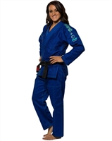 Fuji Gi - BLOSSOM - Blue with Light Green Stitching - Adult Size