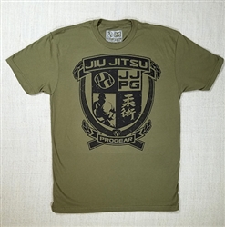 Jiu Jitsu ProGear Emblem Tshirt - Heather Green w/ Yellow Logo