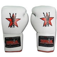 "MMA Pro Sports ""Old School"" Lace Up Gloves - White"