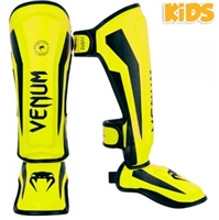 "Venum ""Elite"" Standup Shinguards (KIDS) - Neo Yellow"
