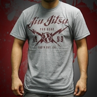 Jiu Jitsu ProGear - South Bay Tee - Heather Gray w/ Cardinal Design,